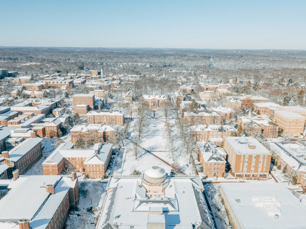 University staff works through snow to ensure students have full stomachs
