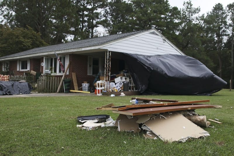 A home in Windsor airs out along with all its contents after it was hit last year by Hurricane Matthew.