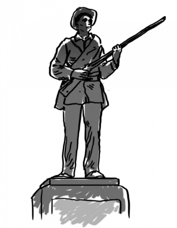 A sketch of Silent Sam, the confederate memorial on campus.