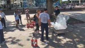 Fire safety demonstration in the Pit