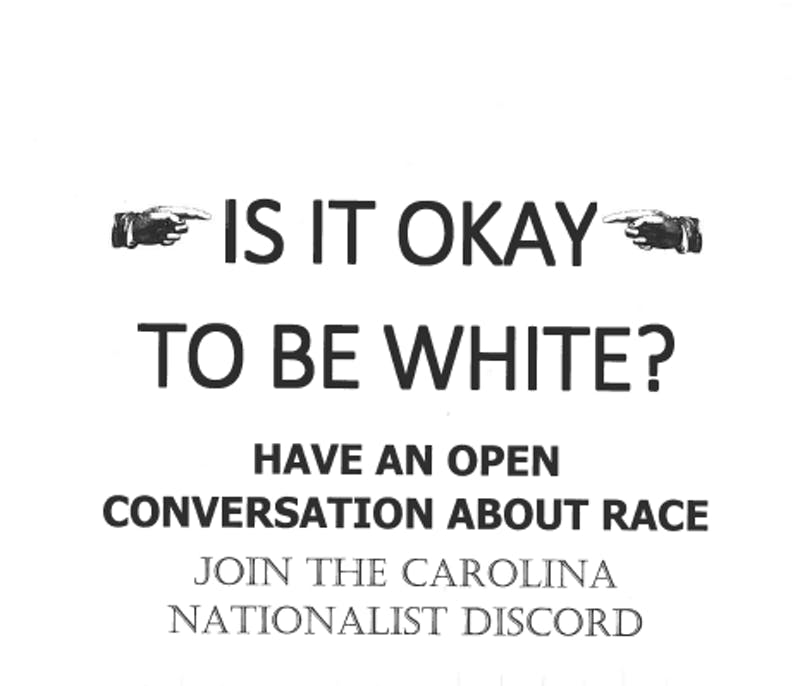 """Posters for """"Carolina Nationalist Discord"""" were posted around campus, and taken down from Ehringhaus Residence Hall."""