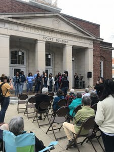 Students and community members walked from Silent Sam to the Peace and Justice plaza Wednesday to commemorate the 50th anniversary of Martin Luther King Jr.'s death.