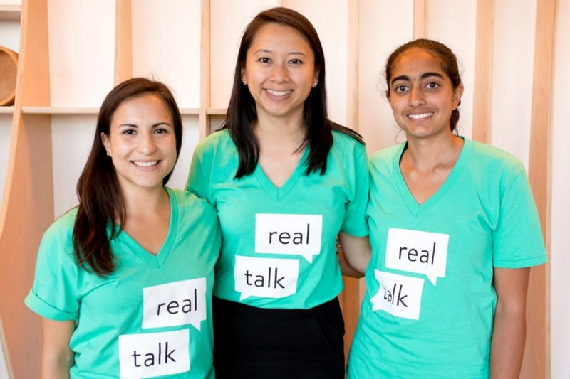 "Cristina Leos, Elizabeth Chen and Vichi Jagannathan have developed an app called ""Real Talk"" targeted at middle schoolers with the hope to provide them with sex education. Photo courtesy of Elizabeth Chen."