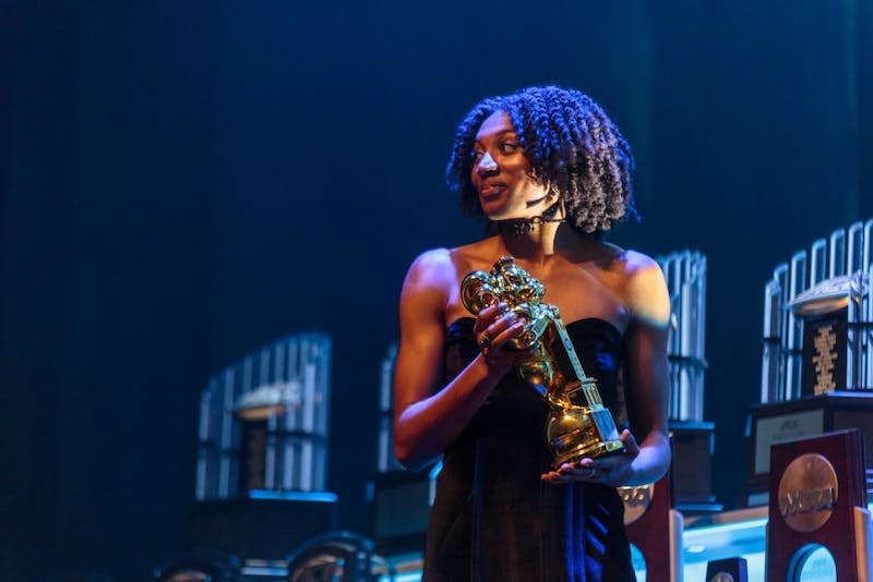 High jumper Nicole Greene of the track and field team won the Female Athlete of the Year award at the Rammys on April 23 in Memorial Hall.