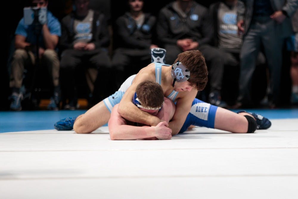 UNC wrestling tops Duke on senior night at Brawl at the Hall, 28-14