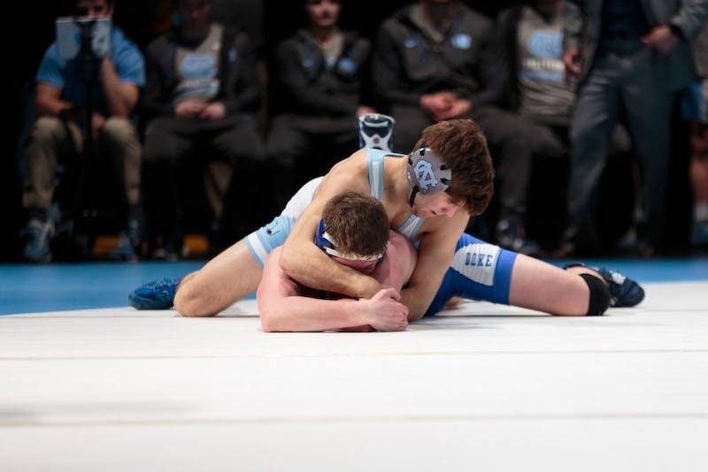 Senior Troy Heilmann wrestles against Duke on Feb. 15 in Memorial Hall.