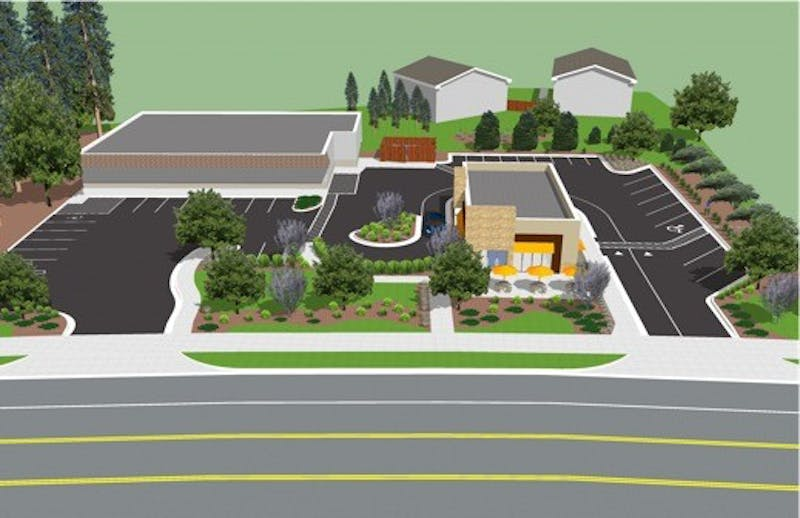 A concept design for new Dunkin' Donuts drive-thru. Courtesy of Pete Turner.