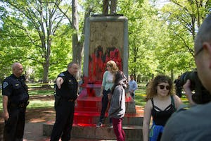 Silent Sam, a Confederate monument on campus, was defaced with red paint on Monday afternoon.