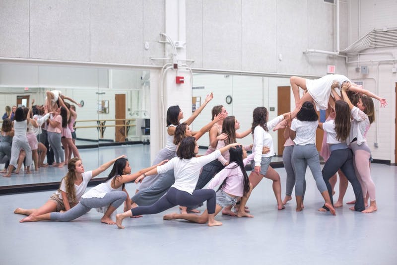 "Modernextionsion Dance Company practices improvisation at rehearsal for ""Disruption."" Photo courtesy of Ryan Herron."