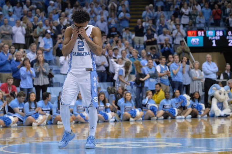 Senior Joel Berry II (2) delivers his senior speech after the game against Miami on Feb. 27 at the Smith Center.