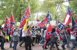 Confederate heritage supporters rallied in McCorkle Place to defend the statue of Silent Sam in 2015. At the time, the North Orange County NAACP wanted to get rid of the confederate flag in schools.