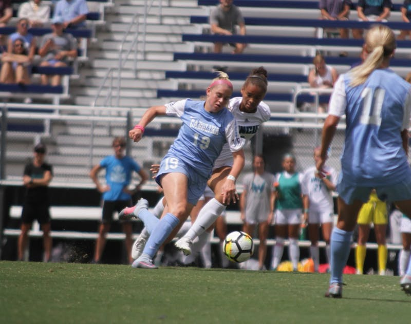 UNC forward Alessia Russo (19) fights for control over the ball against UNC-Wilmington on Sept. 3.