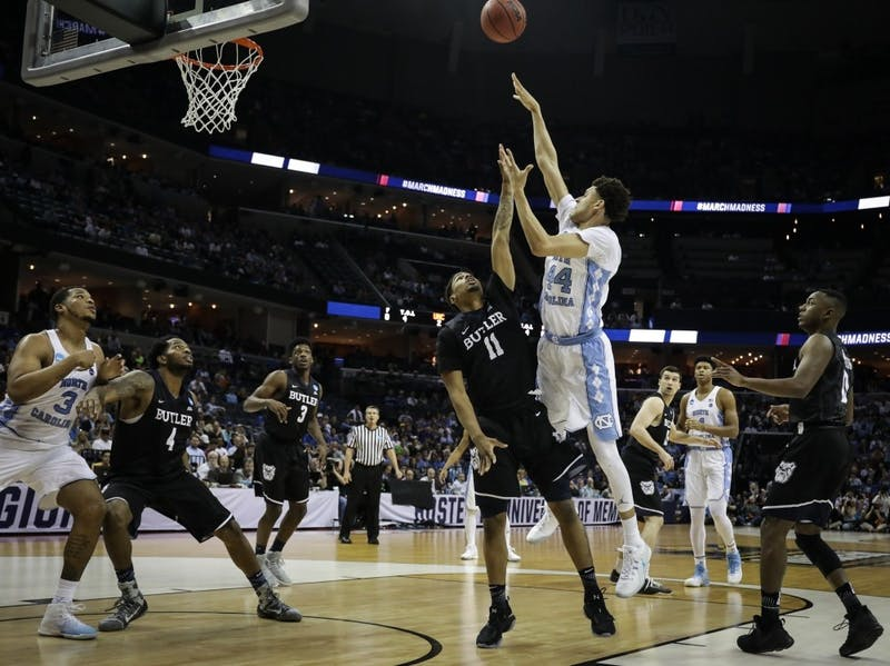 Former North Carolina forward Justin Jackson (44) takes a floater against Butler in the Sweet 16