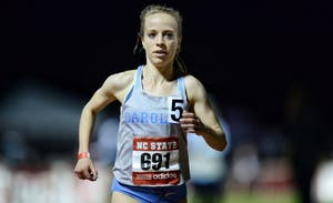 Senior Caroline Alcorta ran the second fastest 10,000-meter race in North Carolina history on March 30 at the Raleigh Relays. Photo courtesy of UNC Athletic Department.
