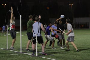 UNC students prepare for upcoming Quidditch matches by practicing on Wednesday night at Hooker fields.