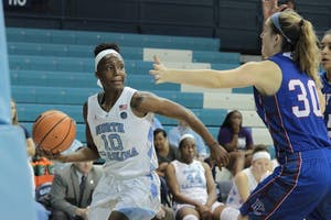 Guard Jamie Cherry (10) looks for a pass against Presbyterian in a game at Carmichael Arena on Dec. 5.