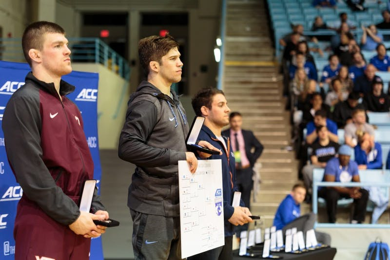 UNC redshirt senior Troy Heilmann won gold in the 149-pound weight class at the ACC Championship on March 3 at Carmichael Arena.