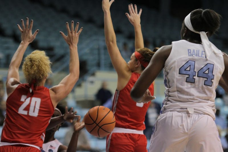 Guard Jamie Cherry (10) squeezes a pass in to forward Janelle Bailey (44) against Radford on Thursday night in Carmichael Arena.