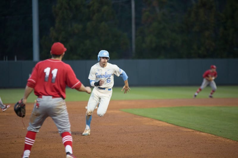 Junior Dylan Enwiller rounds the bases against St. John's on Feb. 21 in Boshamer Stadium.