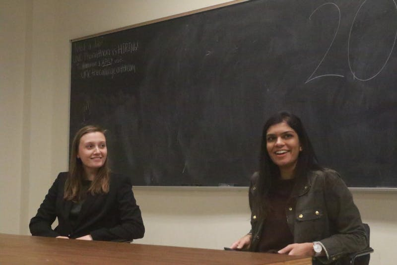 Candidates Savannah Putnam and Garima Tomar participated in the 2018 SBP Debate Monday night in Bingham 103.