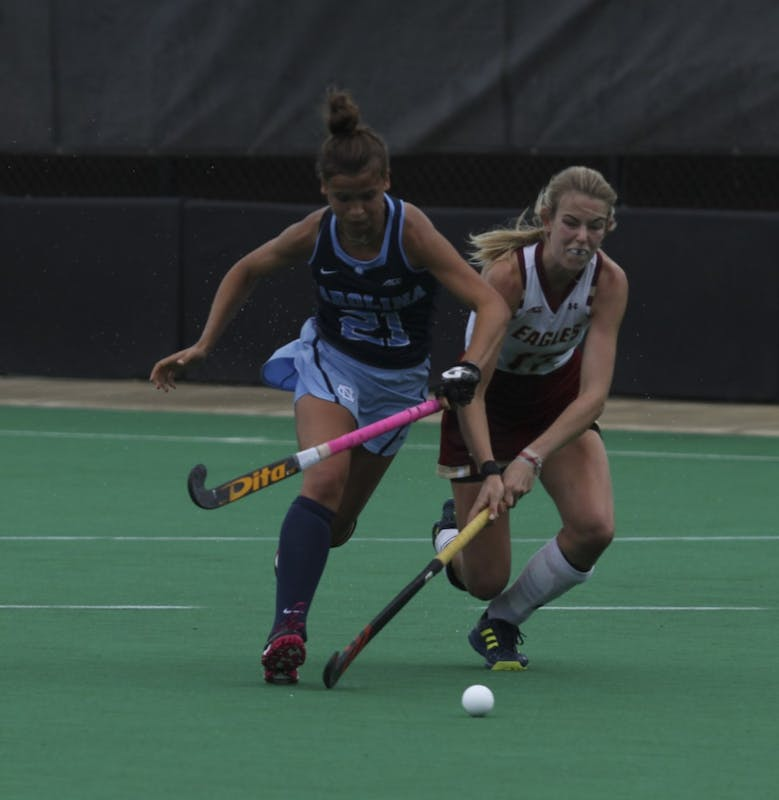 Midfielder Eva Smolenaars (21) was a critical player for the UNC Women's Field Hockey team in a match against Boston College.