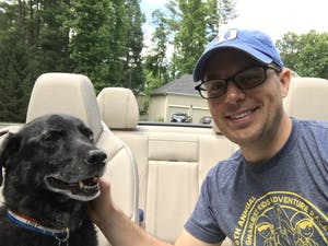 Chris DeRienzo takes a selfie with his dog, Bartlet.