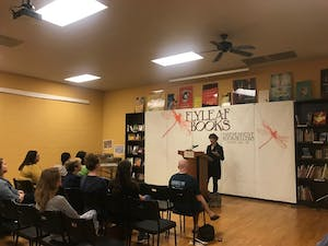 """E. Lockhart spoke about her new book, """"Genuine Fraud,"""" at Flyleaf Books Tuesday."""