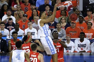 Former North Carolina forward Brice Johnson dunks against Syracuse in the 2016 Final Four.