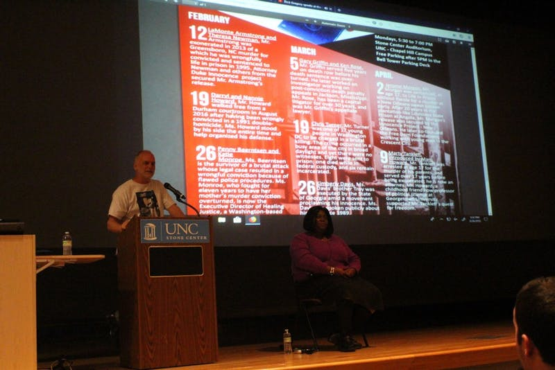 Professor Frank Baumgartner, from the department of political science, introduces Kimberly Davis to speak about her brother, who was sentenced to death in the state of Georgia.