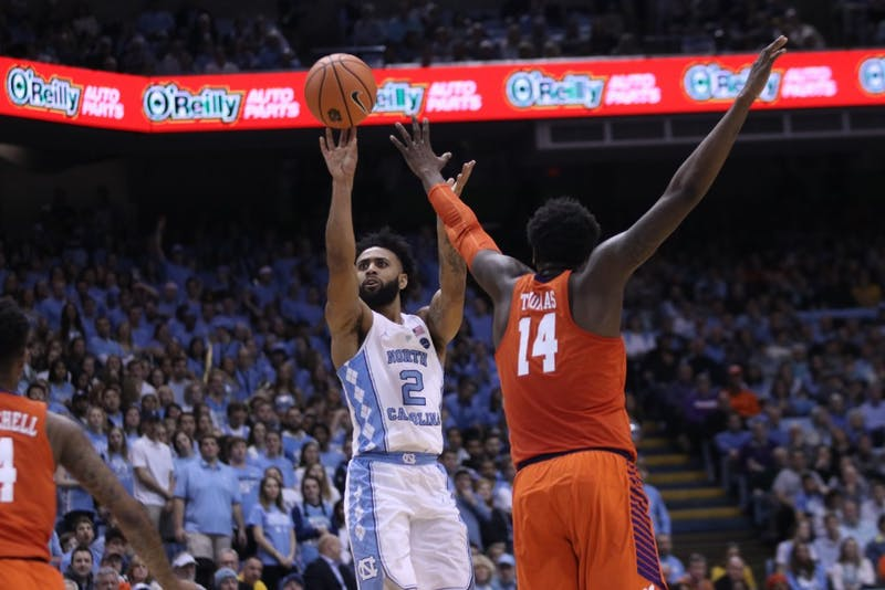 North Carolina's Joel Berry II (2) takes a 3-pointer against Clemson on Jan. 16 in the Smith Center.