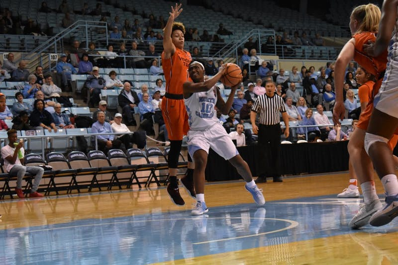 UNC center Jamie Cherry (10) forces her way toward the net on February 7th against Virginia Tech.