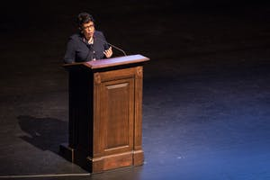 Former US Attorney General Loretta Lynch gives a speech in Memorial Hall on Monday night as part of the 37th annual UNC Martin Luther King Jr. Keynote Lecture and Award Ceremony.