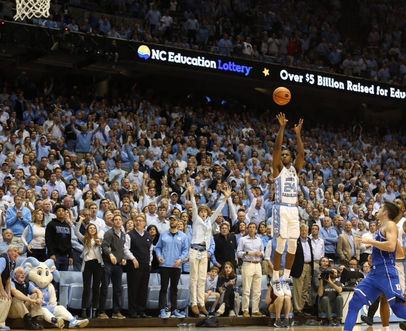 Guard Kenny Williams (24) shoots a 3-pointer against Duke on Thursday night in the Smith Center.