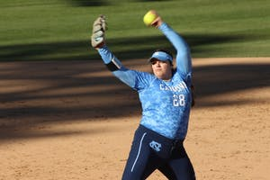 Brittany Pickett (28) pitches against Kansas on March 3 in Anderson Stadium.