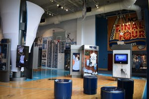 The renovated Carolina basketball museum features interactive exhibits.