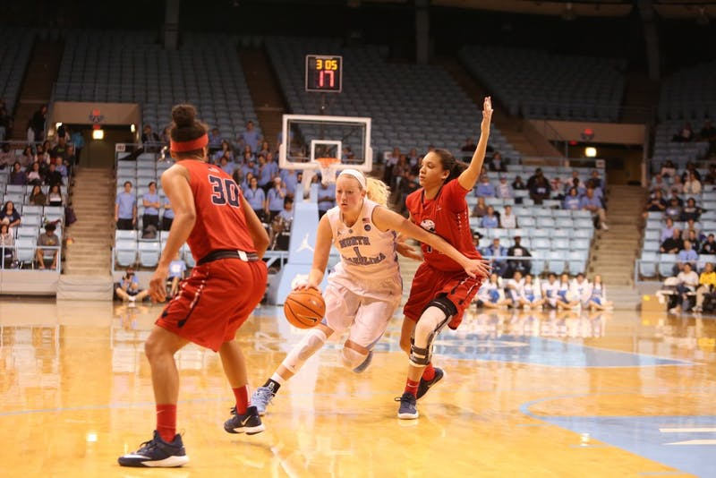 Guard Taylor Koenen (1) dribbles a South Alabama defender during Sunday afternoon's game in Carmichael Arena.