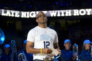 Longtime ESPN anchor Stuart Scott returned to Chapel Hill to host Late Night with Roy at his alma mater in 2012.