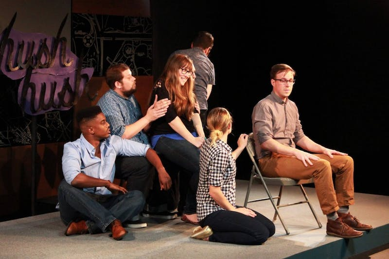 "Mettlesome hosts ""Hush Hush,"" an improv show based on people revealing their secrets. Photo courtesy of Ashley Melzer."