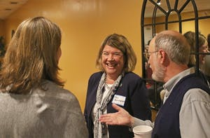 Mayor Pam Hemminger talks with Chapel Hill residents at an event at Mediterranean Deli in 2016.
