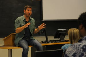 UNC alumnus Anthony Tambakis talked to students about life as a professional screenwriter Wednesday.