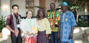 TEA Fellows from left, Sophea Sar of Cambodia, Kamonrat Chimphali of Thailand, Victoria Ayanlowo of Nigeria, Alex Quarshie of Ghana and Raphael Adeyemi of Nigeria. Photo courtesy of Marie Freeman.