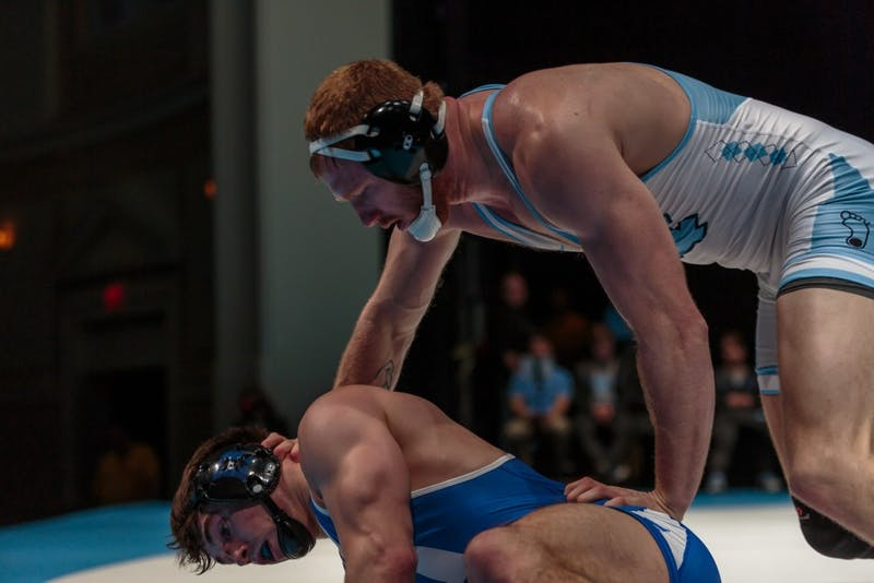 Danny Chaid wrestles against Duke on Feb. 15 in Memorial Hall.