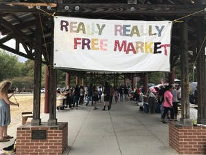 The Really Really Free Market, an anti-capitalist event, held its monthly gathering on Saturday, marking thirteen years in Carrboro.