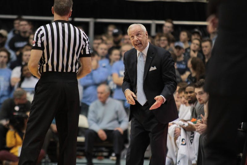North Carolina men's basketball head coach Roy Williams argues a call during a Dec. 20 game against Wofford in the Smith Center.