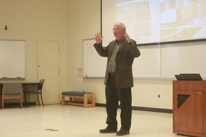 """Digital Librarian and Internet Archive Founder, Brewster Kahle, delivers his lecture titled """"Universal Access to All Knowledge"""" Friday afternoon in Manning Hall."""
