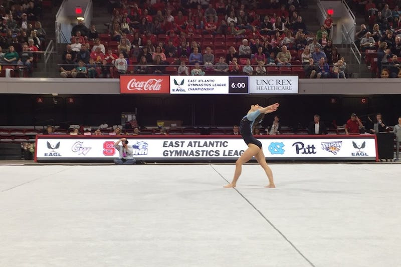 Morgan Lane, now a senior, competes in the 2017 EAGL Championships in Raleigh.
