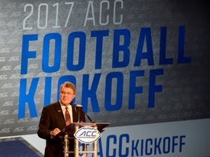 ACC Commissioner John Swofford addresses the media during the 2017 ACC Football Kickoff media event in Charlotte, N.C., Thursday, July 13, 2017. (Photo by Sara D. Davis, the ACC.com)