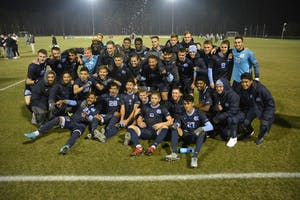The North Carolina men's soccer team celebrates after defeating Fordham, 2-1, and advancing to its second consecutive college cup on Dec. 2 at WakeMed Soccer Park in Cary.