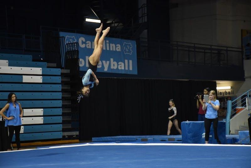 North Carolina senior Madison Nettles competes against N.C. State on Jan. 12 at Carmichael Arena.