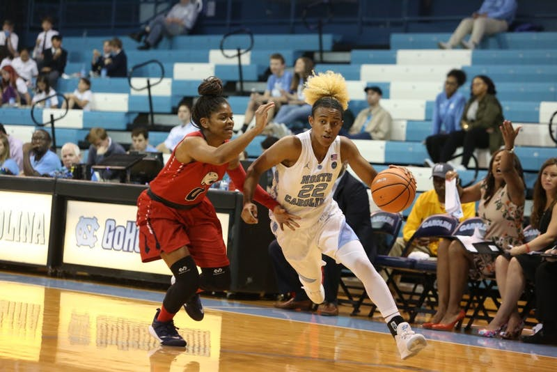 Guard Paris Kea (22) dribbles past a South Alabama defender during Sunday afternoon's game in Carmichael Arena.